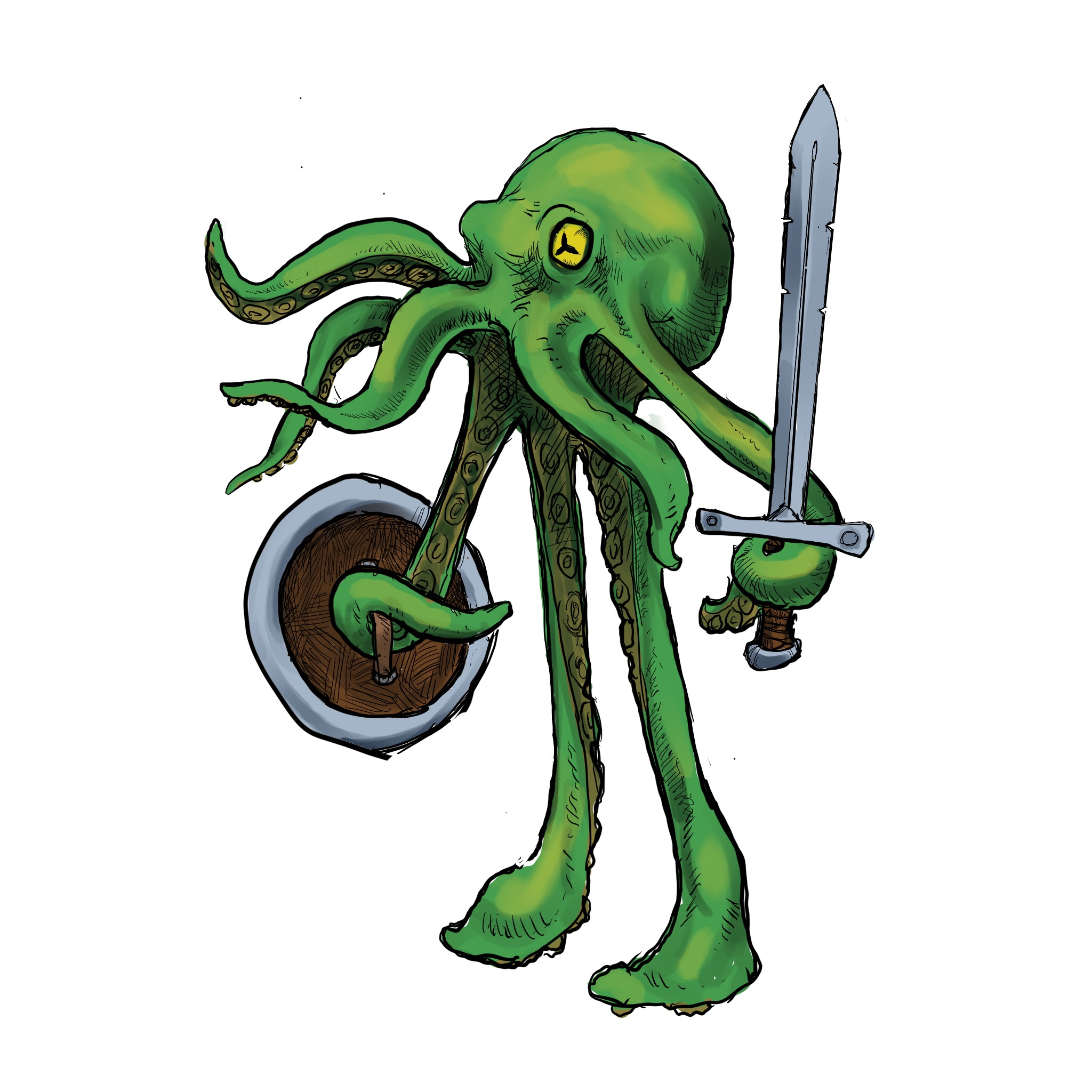 a walking octopus with sword and shield