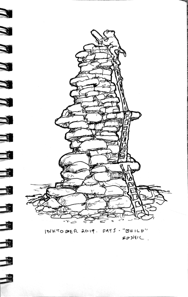 a somewhat rodentike creature placing a stone on top of a crazy tower of stones, having crawled up there via an improbably series of 3 ladders